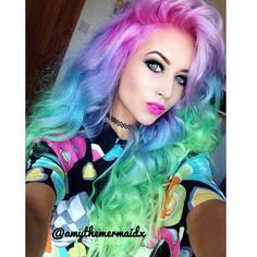 Amy the Mermaid...must have this gorgeous rainbow hair one day!