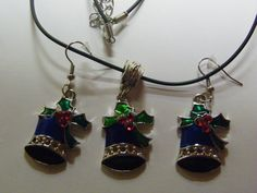 Dangle Bell Earrings & Necklace Set   96 by ritascraftsandmore on Etsy