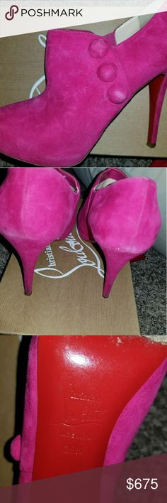 AUTH HOT PINK CHRISTIAN LOUBOUTINS EXCELLENT CONDITION! Wore 2 times! No longer need them. These cuties deserve to be worn, not sit in a closet. These are 100% AUTHENTIC with box. These are a one-of-a-kind pair of Louboutins! Look great with anything- jeans, shorts, skirts, pants- WHATEVER! Hoping for a fun home! 🏝🍺🍸🌷🌞 Christian Louboutin Shoes Heels