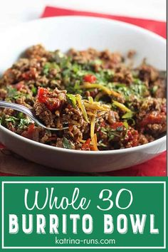 Whole 30 Burrito Bowl — Katrina Runs for Food Whole 30 burrito bowl with broccoli slaw, seasoned ground beef, and vegetables will be an instant hit for your next Whole 30 Meal Plan, Whole 30 Lunch, Whole 30 Diet, Paleo Whole 30, Whole 30 Recipes, Ground Turkey Recipes Whole 30, Whole30 Ground Beef Recipes, Whole 30 Meals, Paleo Ground Beef
