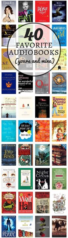 40 favorite audiobooks (yours and mine). Perfect for carpool time or making dinner.
