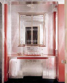 The Art Deco bathroom at Upton House --©National Trust Images/Andreas von Einsiedel Decor, Pink Wall Mirrors, Bathroom Decor, Vanity Design, Art Deco Furniture, Art Deco Bathroom, Home Decor, Bathroom Design, Deco Decor