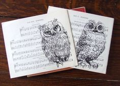 Owl print on literature or music sheets Owl Cat, Owl Bird, Owl Sketch, Drawing Sheet, Owl Print, Book Projects, Goodie Bags, Architecture Art, Folk Art