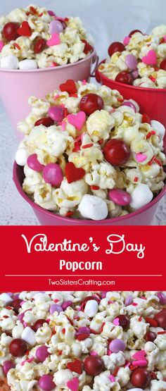 Valentines Day Popcorn - a fun Valentines Day treat. Sweet, salty, crunchy and delicious and it is so easy to make. It would be a great Valentines Day Party Food or a February family night dessert! us for more fun Valentines Day Food ideas. Valentine Desserts, Valentines Day Food, Valentines Healthy Snacks, Valentine Treats, Valentines For Kids, Holiday Treats, Holiday Recipes, Valentine Party, Valentines Baking