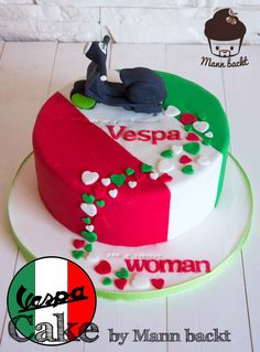 Vespa Cake Motivtorte Mann backt (1 von 2) Cakes To Make, Cakes For Men, Cakes And More, How To Make Cake, Cookies Cupcake, Cupcakes, Vespa Cake, Cake Competition, Flag Cake