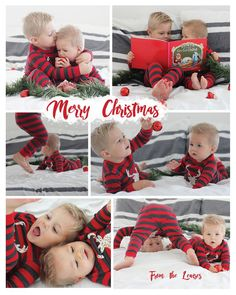 Pajama Themed Christmas Card - Lou Lou Girls - I love Christmas themed photoshoots, and I love Christmas pajamas, so this year I decided to do a p - Sibling Christmas Pictures, Christmas Card Pictures, Xmas Photos, Family Christmas Pictures, Holiday Pictures, Christmas Photo Cards, Christmas Baby, Christmas Pajamas, Toddler Christmas Photos