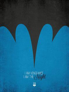 Justice League of America Minimalist Prints - I Am Vengeance - I Am The Night - Batman Dc Comics, Comic Art, Comic Books, Superhero Design, Minimal Poster, Batman Art, Comic Character, Justice League, Geek Stuff