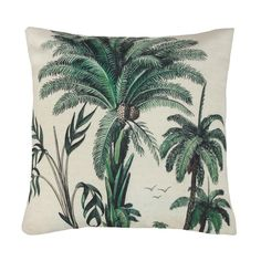 A palm tree printed cotton cushion with a polyester filler. x Machine washable Polyester inner Removable cover Vegan Palm Tree Print, Palm Trees, Jungle Vibes, Printed Cushions, Decorate Your Room, Cushion Pads, Inspired Homes, Soft Furnishings, Decoration
