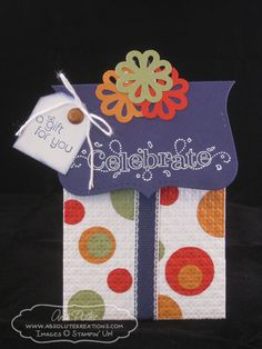 """Cute """"Celebrate"""" Present Gift Card Holder...Andi Potler: Absolute Kreations."""