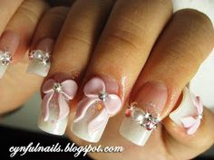 Cynful Nails: Dreamy white glitter with flirty pink ribbons