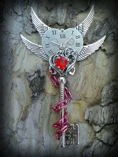 "Keys & Locks: ""Timeless by at deviantART. Key Jewelry, Cute Jewelry, Jewelery, Jewelry Accessories, Unique Key, Dragon Jewelry, Wiccan Spells, Magical Jewelry, Key To My Heart"