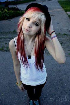 red blonde dye my hair Blonde Dye, Red Blonde Hair, Blonde Bangs, White Blonde, Emo Scene Hair, Emo Hair, I Like Your Hair, Love Hair, Dye My Hair