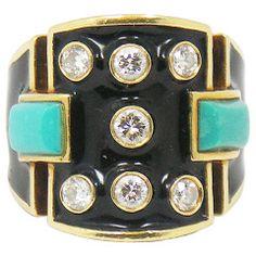 David Webb Black Enamel Turquoise Diamond Ring