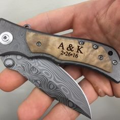 Monogrammed Personalized Heavy Duty Burl Wood Stainless Steel Titanium Coated Folding Pocket Knife, Custom Engraved Groomsmen Gift Hunting Knife