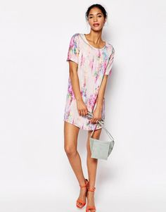 Oh My Love   Oh My Love T Shirt Dress in Floral Smudge at ASOS