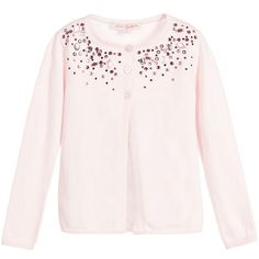 Lili Gaufrette Pale Pink Cotton Knitted Cardigan with Gems