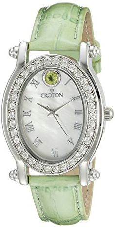 Women's Wrist Watches - CROTON Womens CN207537GNMP Balliamo August Birthstone Analog Display Quartz Green Watch -- Check out this great product.