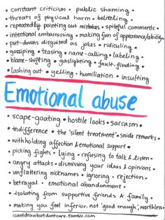 This is for all of you who wonder what emotional abuse is. It is not a definitive list but it gives you an idea. Emotional abuse takes many forms, you can still have gone through it even if most of these don't fit your experience. Mental And Emotional Health, Mental Health Awareness, Emotional Healing, Success Quotes, Life Quotes, Quotes Quotes, Goal Quotes, Lesson Quotes, Leadership Quotes