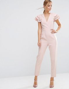 ASOS Wrap Jumpsuit with Frill Sleeve