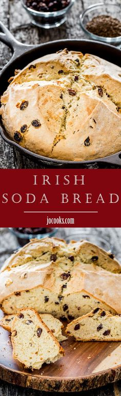 This Skillet Irish Soda Bread recipe is a rustic, mildly sweet quick bread with raisins and caraway seeds. It is so easy and super quick to put together, then baked in a skillet.  #irishsodabread