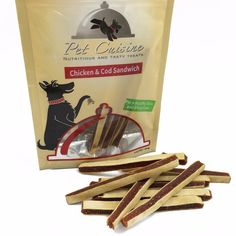 Pet Cuisine Dog Treats Training Snacks Dog Food Puppy Chewy, Chicken & Cod Sandwich, 3.53oz