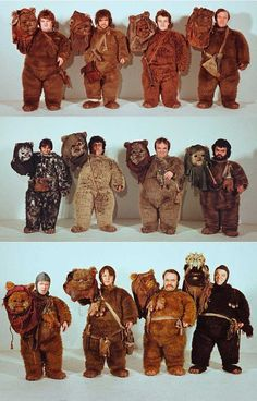 Some of the actors who played Ewoks in Return of the Jedi.