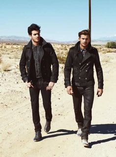 Cabas |  Guess Autumn/Winter 2013 Campaign black on black desert boots fashion men