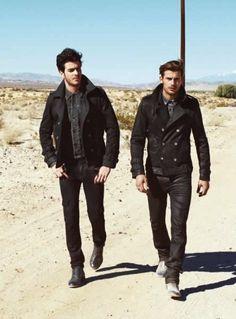 Cabas |  Guess Autumn/Winter 2013 Campaign black on black desert boots fashion men