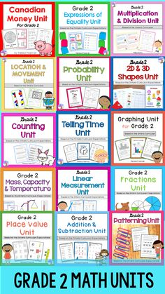 This full year math bundle for 2nd grade is aligned with the Ontario Curriculum and contains 15 units that have lesson ideas, worksheets, activities, posters, assessments, quizzes, and games!