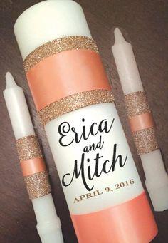 Unity Candle Set Gold Glitter Weddings by littledivashoppe on Etsy
