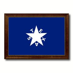 Texas History Lorenzo De Zavala Military Flag Canvas Print Brown Picture Frame Home Decor Wall Art Gift Ideas