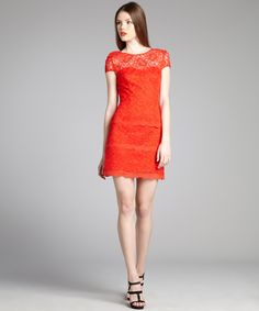 $119 Cynthia Steffe firetruck red lace scalloped ruffle tiered 'Martine' dress | BLUEFLY up to 70% off designer brands