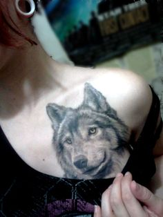 girl wolf tattoo - Sure wouldnt get it there but God knows how much I love wolfies
