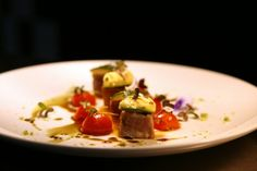 Tuna, tomatoes cherry compote, zucchini tourne