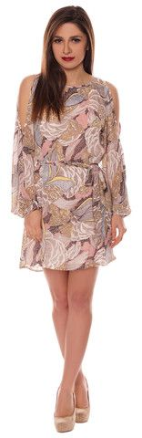 Alison Multicoloured Beige Yellow Chiffon Style Cut Out Cold Shoulder Belted Shift Dress