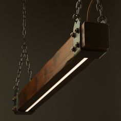Amazing Wood Beam LED Pendant Light! An old-worldly composition of timber and steel contrasted with the clean modern look of embedded 12v LED. The steel wo