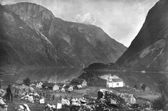 Bakka on the Nærøy fjord, Aurland municipality, seen circa <span>1890, and again (click to fade) in 2004.</span> In 2005, the fjords of Nærøy and Geiranger were listed on UNESCO's list of world-heritage sites as western Norwegian-fjord landscapes. The oldest picture shows an environment typical of the time before the first Great Change: many small buildings and an open landscape characterized by manual farming. Today the buildings show a surprising lack of cha...
