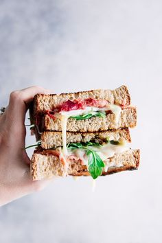 Roasted Rhubarb Brie Sandwich, a perfect blend of sour roasted rhubarb with creamy and slightly sweet melted brie with arugula and fig jam on toasted bread. Let's do lunch! #rhubarb #sandwich #brie #grilledcheese #vegetarian #toast