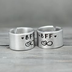 These personalized friendship rings are the perfect way to show your bestie just how much she means to you. It's the perfect symbol of everlasting friendship and love. Features & Measurements: ♥ 14 Ga