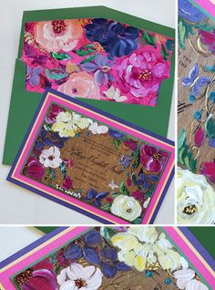 Colorful hand painted floral invitations by Kristy Rice of Momental Designs featuring Belluccia Hand Lettered Font from www.debisementelli.com.
