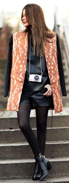 Camel Multi Black Contrast Sleeve Bambi Inspired Coat by Stylista