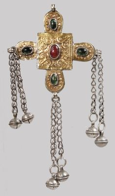 AN ISLAMIC SILVER CROSS set with stones, six bells    €75 ~ sold (Dec '16)