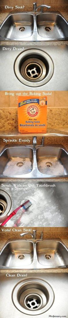 Clean a stainless steel sink with baking soda.   37 Smart Ways To Clean Your Kitchen ForSpring