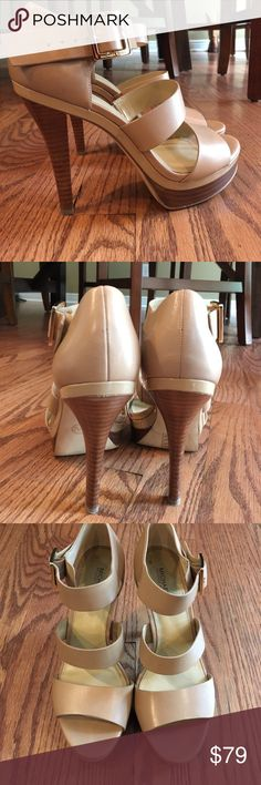 SALE❣️MICHAEL KORS TAN HEELS Tan open toe heels. Size 8.5. Worn 1 time!. MICHAEL Michael Kors Shoes