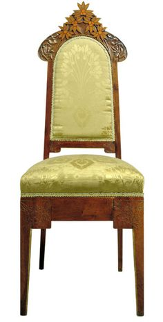 Gaspar Homar i Mesquida (1870-1953) - Side Chair. Carved Walnut & Sycamore with Hardwood & Fruitwood Marquetry Inlays & Gilding and Upholstered Back & Seat. Barcelona, Spain. Circa 1900-1904. 117cm x 43.5cm.