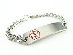 My Identity Doctor - Penicillin Allergy Medical Alert ID Bracelet, Curb Chain Pre-Engraved >>> Want additional info? Click on the image. #Bracelets