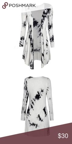 Take 5$ off and send a offer Tie dye cardigan A lovely white cardigan with a all over black tie dye design. Long sleeves. True to your size. Made from cotton and spandex. Great comfortable fit. 5$ off all my cardigans this week✅ boutique item Sweaters Cardigans
