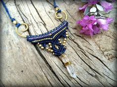 Macrame Necklace, Quartz Crystal Necklace, Macrame Jewelry, Tribal Jewelry, Fiber Necklace