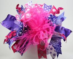 Purple and Hot Pink Bling Over the Top Hair Bow with by sanchezc30, $19.99
