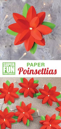 pretty paper poinsettias to make at Christmas. You can make them as a garland, a light decoration, as a gift topper or just as a stand-alone paper craft. Printable template available #christmascrafts #printablecrafts #poinsettia #kidsactivities #printables